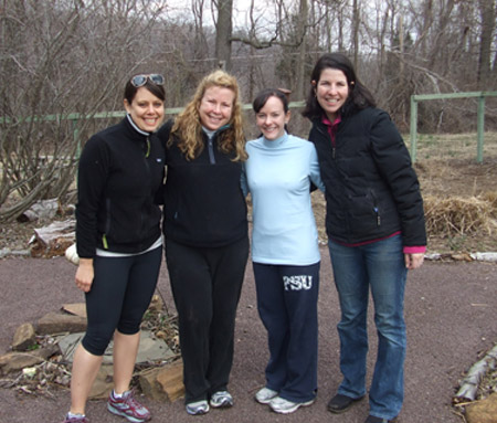 Ashley Lerch, Stephanie Nolan Deviney, Alison Heistand and Beth Throne get together during their afternoon of volunteering.